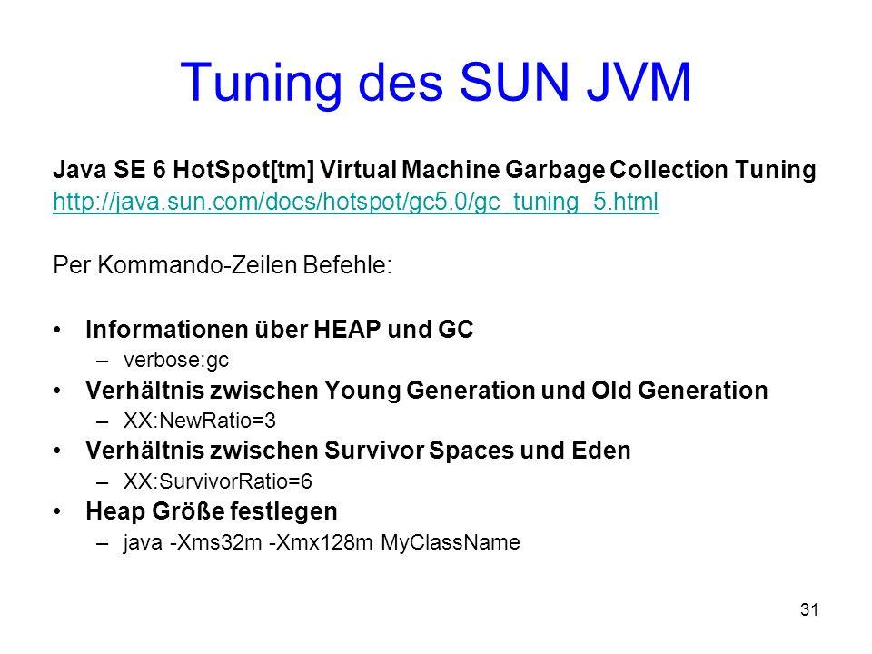 Tuning des SUN JVMJava SE 6 HotSpot[tm] Virtual Machine Garbage Collection Tuning. http://java.sun.com/docs/hotspot/gc5.0/gc_tuning_5.html.